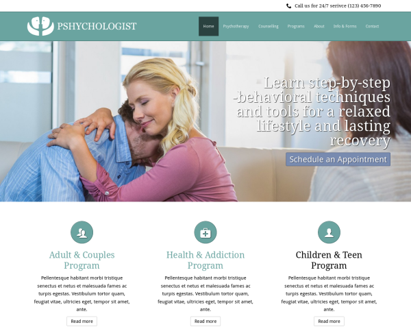 image representation of the Psychologist Website Template