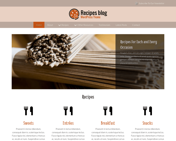 Desktop screenshot of the Recipes Blog Wordpress Theme