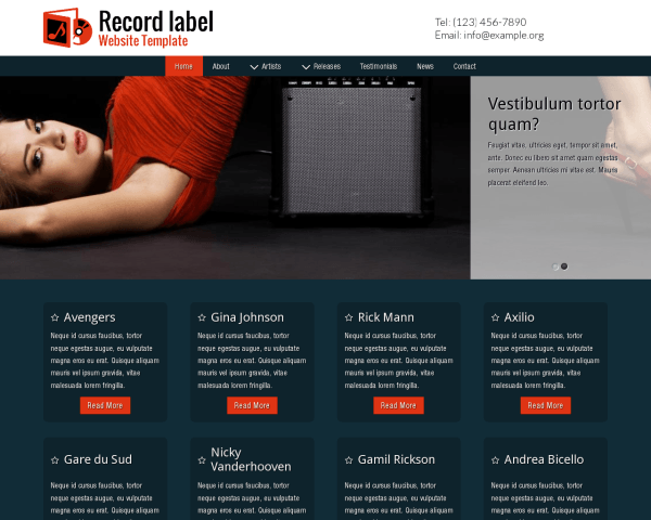 Desktop screenshot of the Record Label Website Template
