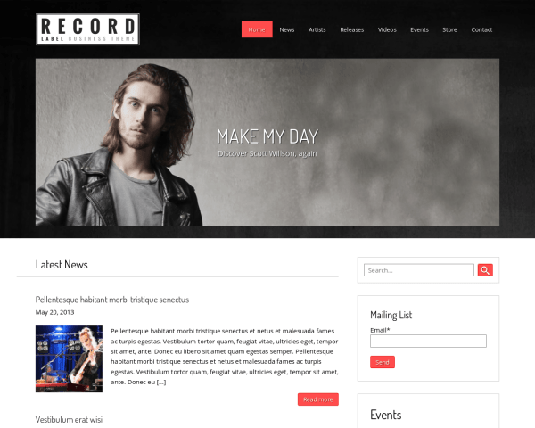 Desktop screenshot of the Record Label Wordpress Theme