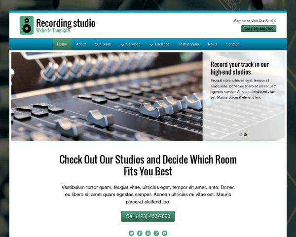 Desktop screenshot of the Recording Studio Website Template