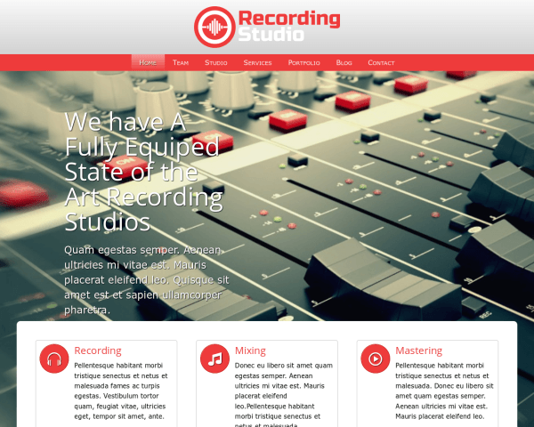 Desktop screenshot of the Recording Studio Wordpress Theme