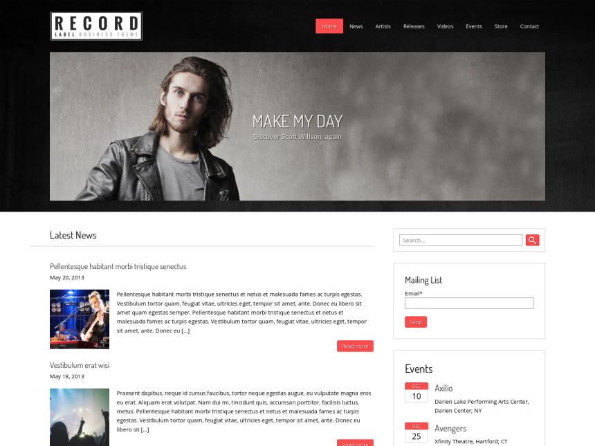 desktop screenshot of the WordPress theme 'Record Label WordPress theme'