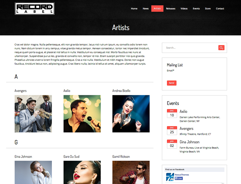 Record Label Website Templates. record label 10 new free wix ...