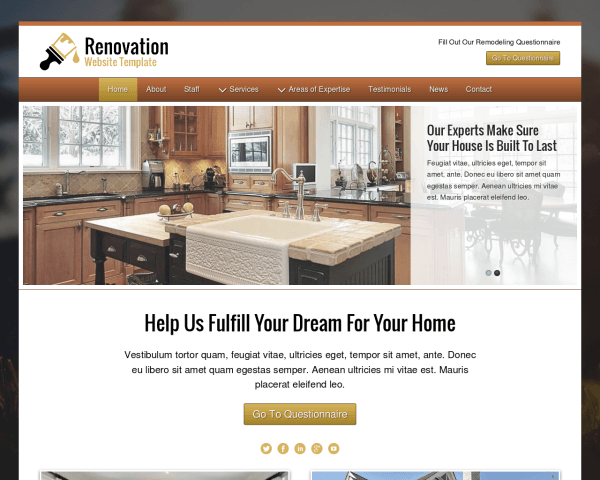 image representation of the Renovation Website Template