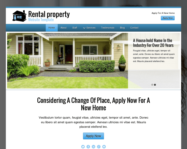 image representation of the Rental Property Website Template
