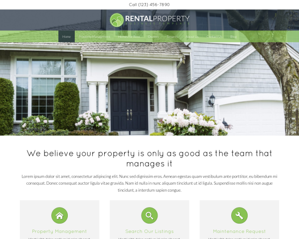 laptop screenshot WordPress theme 'Rental Property WordPress theme'