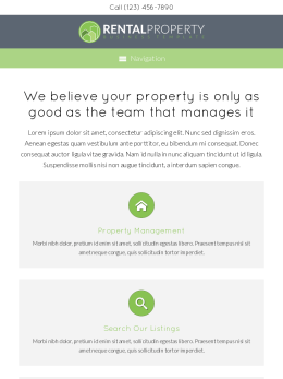 tablet screenshot WordPress theme 'Rental Property WordPress theme'