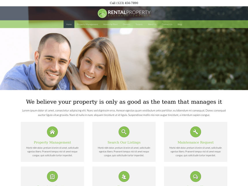 desktop screenshot of the WordPress theme 'Rental Property WordPress theme'