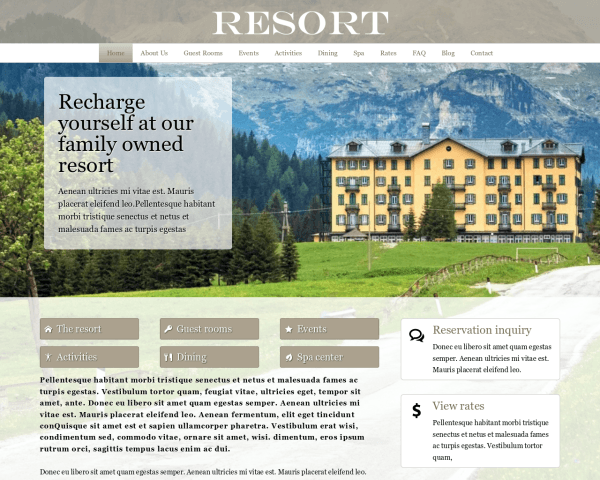 Desktop screenshot of the Resort Wordpress Theme