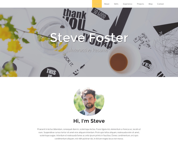 Desktop screenshot of the Resume Wordpress Theme