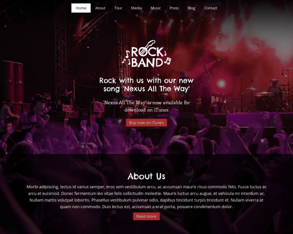 Desktop screenshot of the Rock Band Wordpress Theme