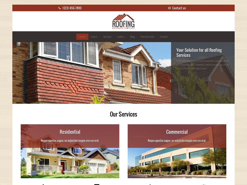 desktop screenshot of the WordPress theme 'Roofing WordPress theme'