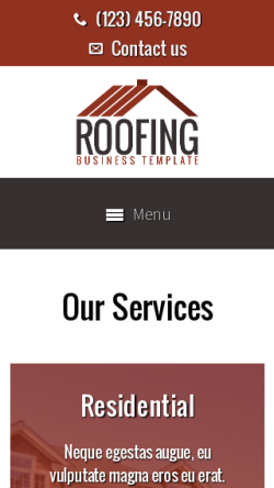 mobile phone screenshot WordPress theme 'Roofing WordPress theme'