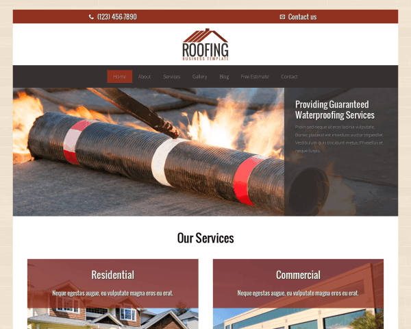 Roofing WordPress theme thumbnail (desktop screenshot)