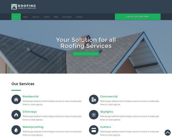 image representation of the Roofing Website Template