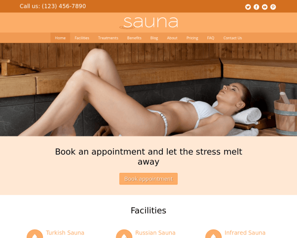 Desktop screenshot of the Sauna Wordpress Theme