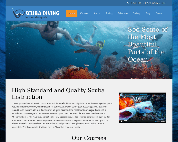 Desktop screenshot of the Scuba Diving Wordpress Theme
