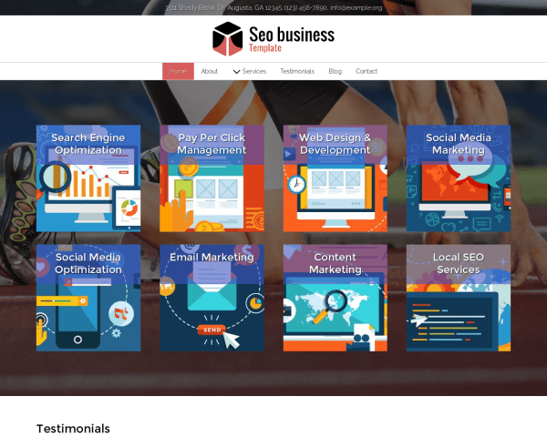 Desktop screenshot of the Seo Business Template