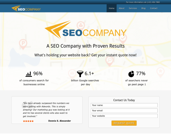 Desktop screenshot of the Seo Company Wordpress Theme