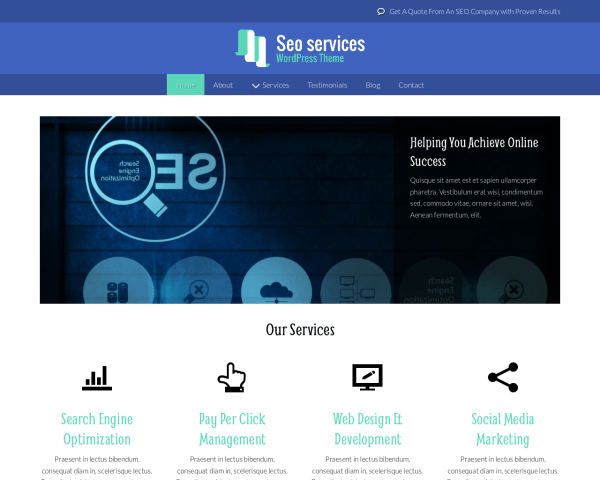 Desktop screenshot of the Seo Services Wordpress Theme