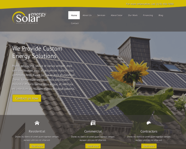 Desktop screenshot of the Solar Energy Website Template