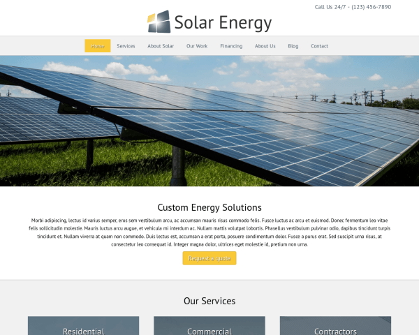 Desktop screenshot of the Solar Energy Wordpress Theme