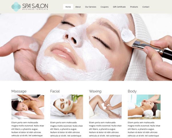 Desktop screenshot of the Spa Salon Wordpress Theme