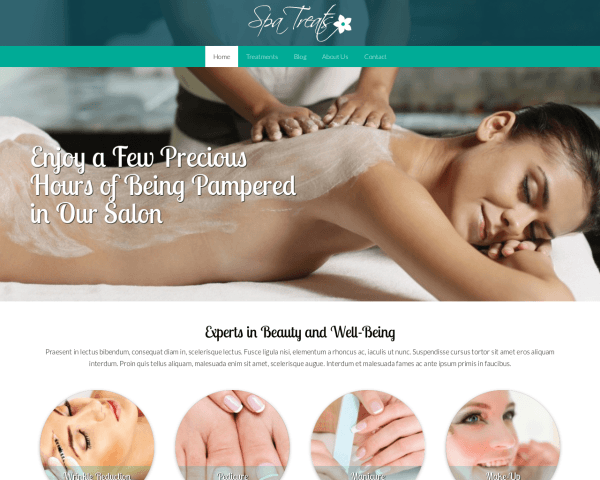 Desktop screenshot of the Spa Treats Wordpress Theme