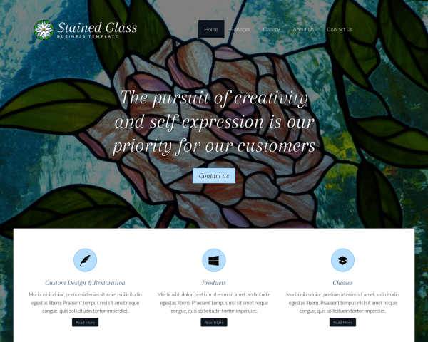 Desktop screenshot of the Stained Glass Wordpress Theme