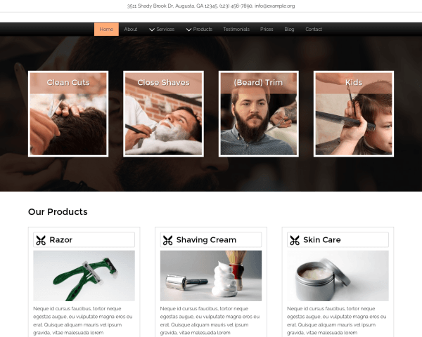 Desktop screenshot of the Straight Razor Wordpress Theme
