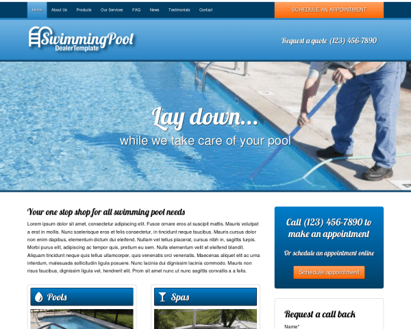 Desktop screenshot of the Swimming Pool Dealer Wordpress Theme