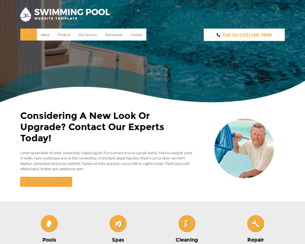 Desktop screenshot of the Swimming Pool Website Template