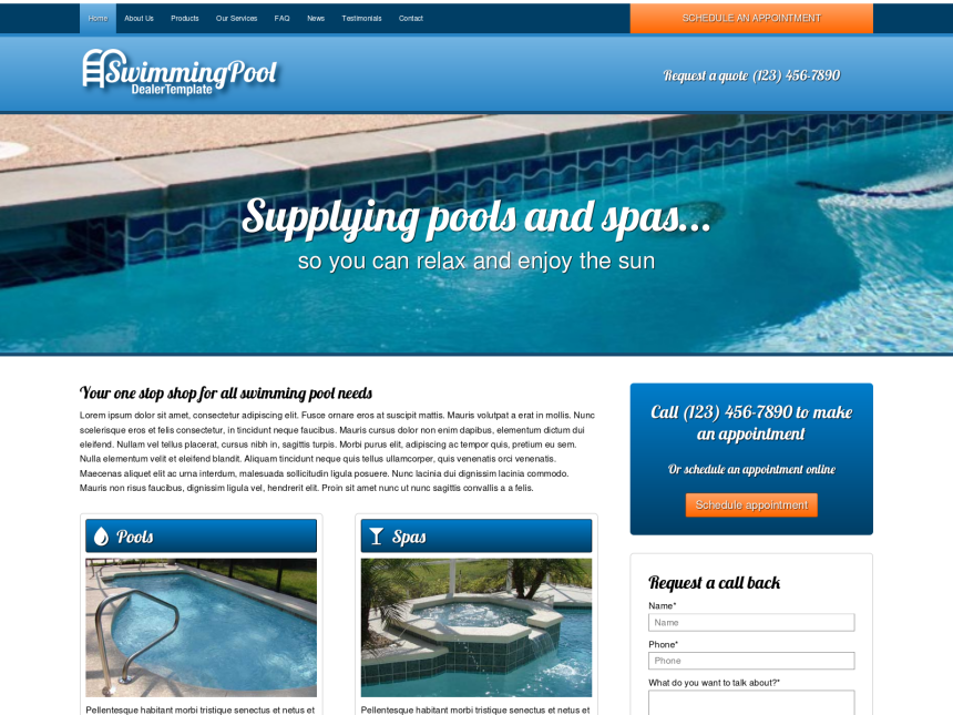 desktop screenshot of the WordPress theme 'Swimming Pool Dealer WordPress theme'