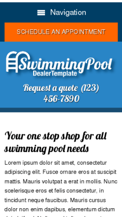 mobile phone screenshot WordPress theme 'Swimming Pool Dealer WordPress theme'