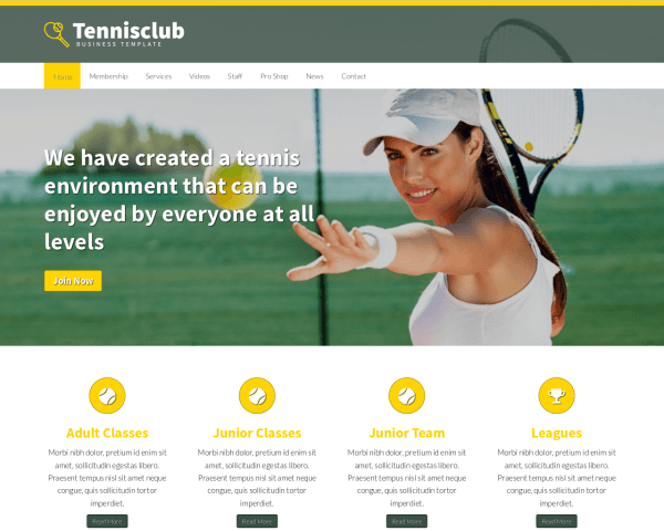 Desktop screenshot of the Tennis Club Wordpress Theme