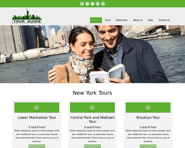 Desktop screenshot of the Tour Guide Wordpress Theme