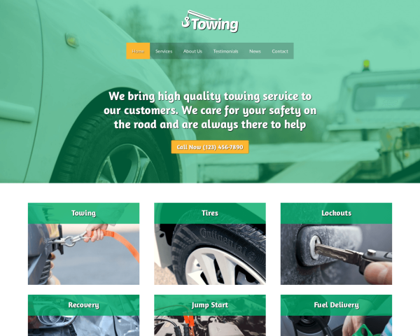 image representation of the Towing Website Template