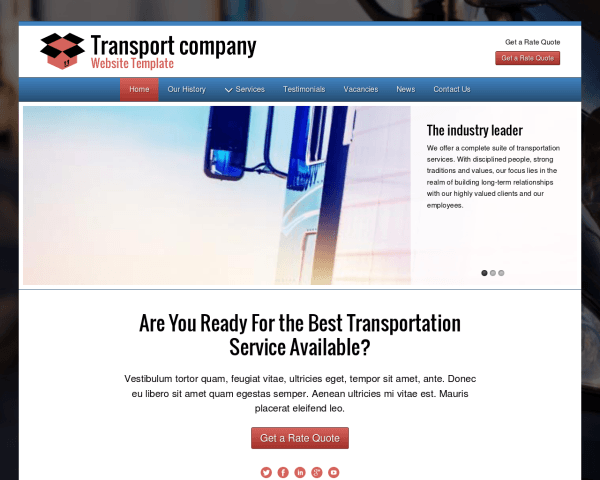 Desktop screenshot of the Transport Company Website Template