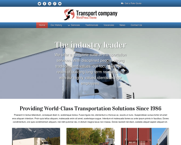 Desktop screenshot of the Transport Company Wordpress Theme