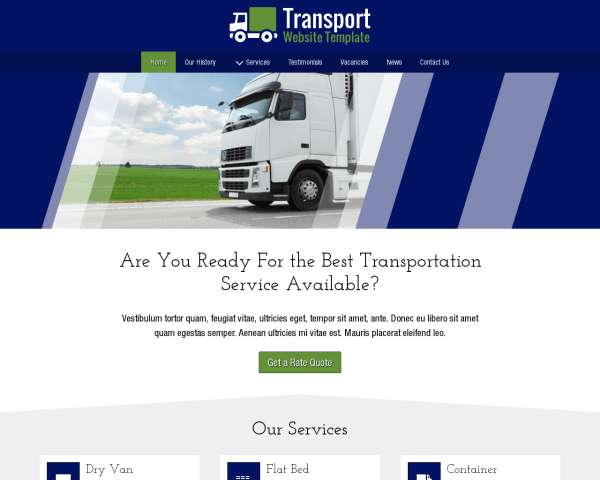Desktop screenshot of the Transport Website Template