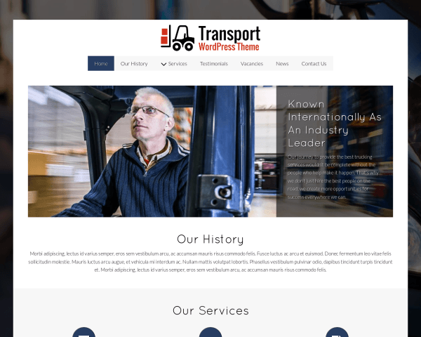 Desktop screenshot of the Transport Wordpress Theme