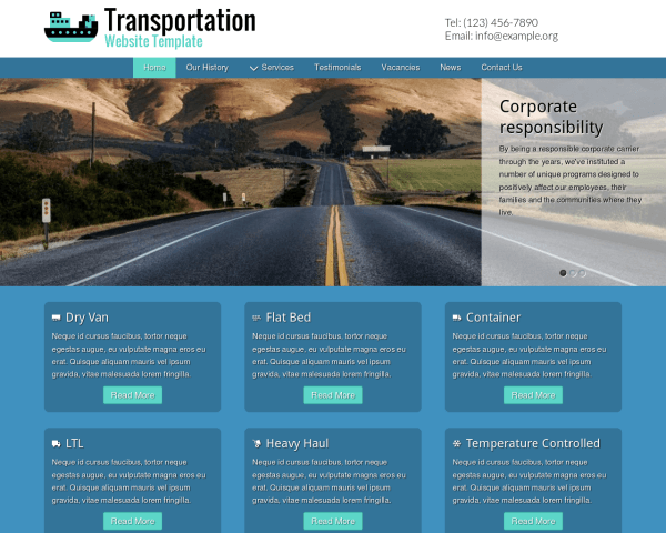 Desktop screenshot of the Transportation Website Template