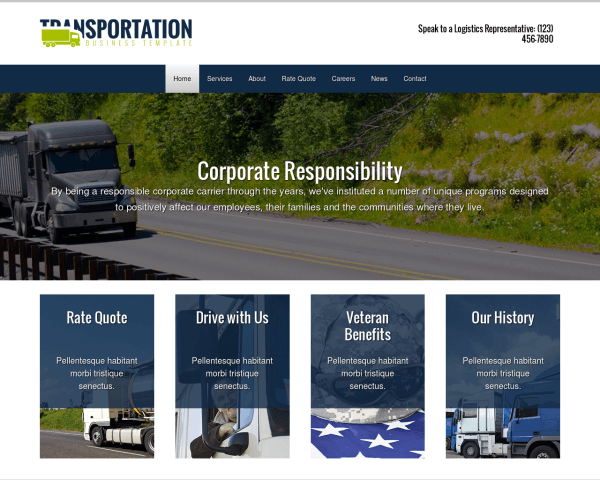 Desktop screenshot of the Transportation Wordpress Theme