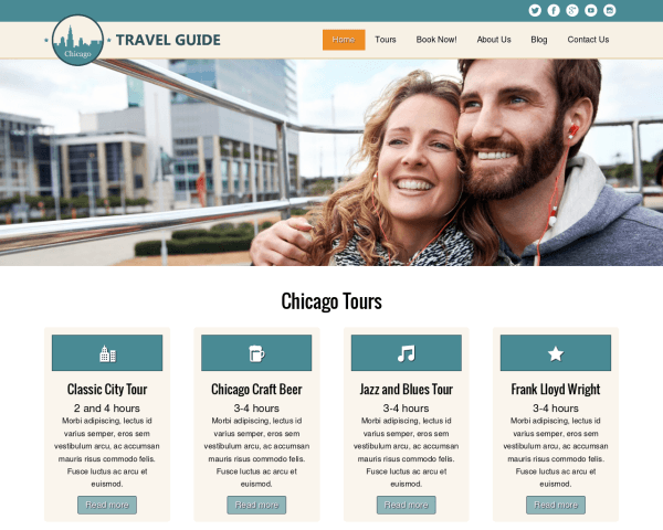 Desktop screenshot of the Travel Guide Wordpress Theme