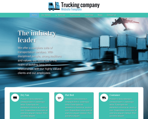 Desktop screenshot of the Trucking Company Website Template
