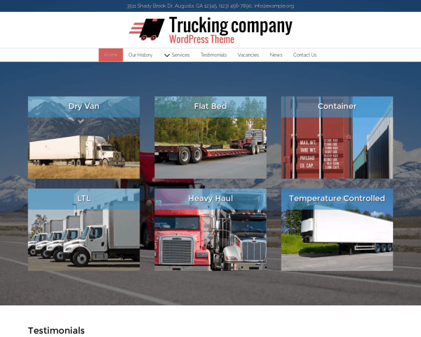 Desktop screenshot of the Trucking Company Wordpress Theme