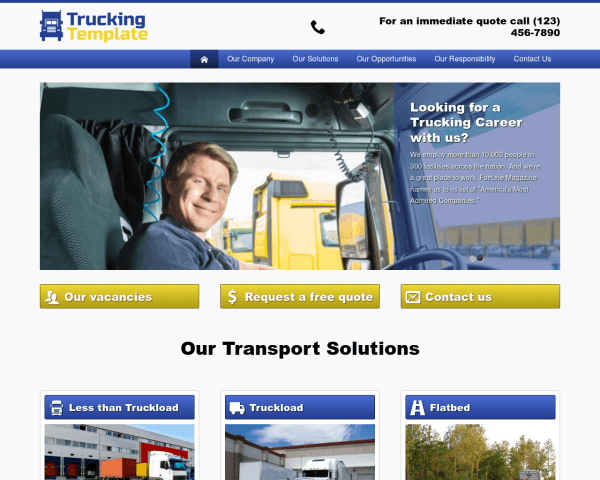 Desktop screenshot of the Trucking Wordpress Theme
