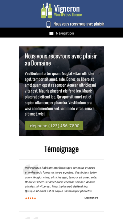mobile phone screenshot WordPress theme 'Vigneron Wordpress Theme'