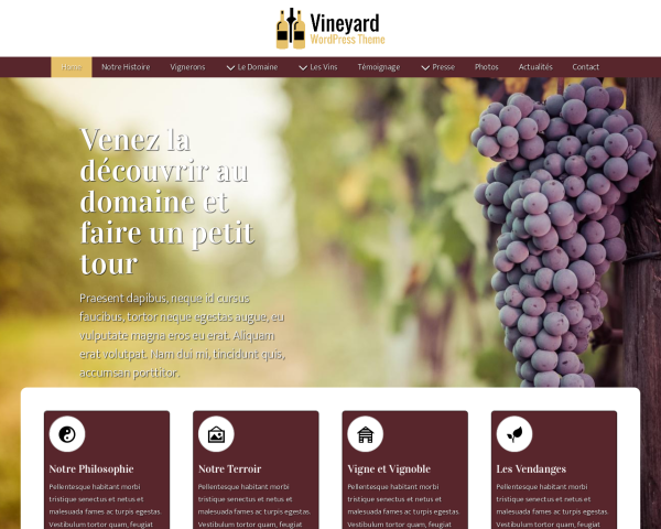 Desktop screenshot of the Vineyard Wordpress Theme